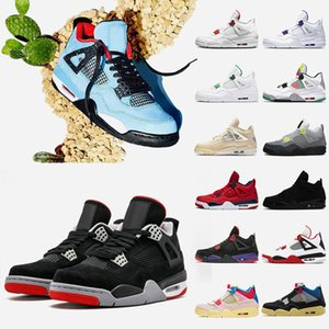 Jumpman Travis 4 4s Bred Mens Basketball shoes Fire Red 2020 Sail Black Cat Court Purple Raptors Union Guava Ice Womens Sneakers Trainers