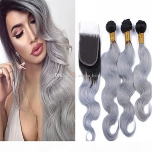 Wholesale sliver prices resale online - B Grey Virgin Hair Bundles With Lace Closure Sliver Grey Two Tone Hair Weaves With Free Part Closure Cheap Price