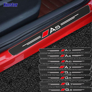 Wholesale door guards resale online - 4pcs Carbon Fiber Door Sills Guards Sticker For Audi Sline Quatrra A3 A4 A5 A6 A7 A8 TT Q3 Q5 Q7 A1 B5 B6 B7 B8 B9 P C6 C5 C7