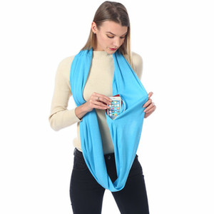 Wholesale silky scarfs for sale - Group buy Zipper Pocket Designer Scarves Solid Color Soft Silky Scarf Fashion Women Designers Shawl Infinity Scarf VTKY2286