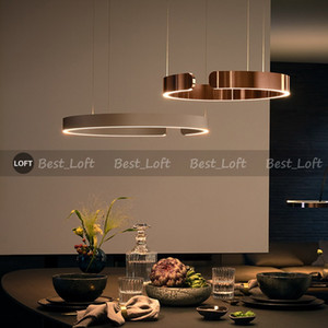 Luxury Gold Ring Pendant Light LED Suspension Plume Lamp Modern Replica Design chandelier Circle Hanglamp Suspension luminaire