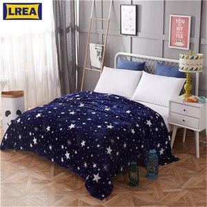 Wholesale polar fleece fabrics resale online - Blanket LREA night sky fabric microfiber cover the bed polar fleece fabric travel blankets airplane Soft and comfortable throw