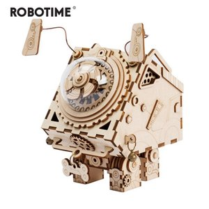 Wholesale music box for boys for sale - Group buy Robotime D Puzzle DIY Movement Wooden dogs Model toys for Children girl boys brain training Music Box Seymour AM480 Y200413