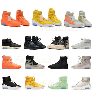 Wholesale lycra cloth resale online - Fear King Shoe Basketball boot Of God Shoes Men Womens FOG Black Yellow Sports Sneakers Boots Trainers