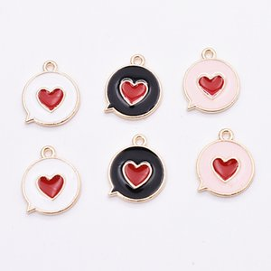 Wholesale love kids charms resale online - 200pcs Bubble Heart Charms for Jewelry making lovely Enamel Charms Accessories Gold Plated for Kids Craft