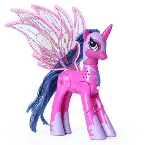 Wholesale magic girl figures resale online - BlueStars Toys colour My little ponie action figure anime Magic Rainbow ponies with light and music toys ponies toys for girls