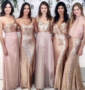 Wholesale weddings beach bridesmaid dresses for sale - Group buy Mismatched Bridesmaid Dresses Beach Wedding with Rose Gold Sequin Top Chiffon Skirt Wedding Maid of Honor Gowns Women Party Formal Wear