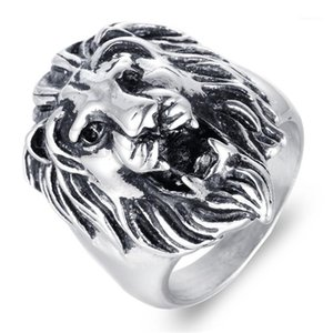Wholesale stainless steel lion head ring resale online - skull ring mens rings stainless steel men punk signet ring male big wolf head lion animal men s finger ring men Accessories1