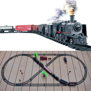 Wholesale train track sets resale online - Steam Track Train Simulation Classical Electric Rail Car Toy Transportation Building Trains Kids Truck Boys Railway Railroad