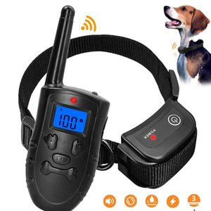 schockierende hundehalsbänder großhandel-Remote Electric Dog Collar Pet Shock Vibration Dog Training Kragen Wiederaufladbare wasserdichte Anti Barking Gerät mit LCD WMTLXL