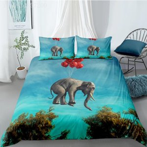 ingrosso piumone copre cartone animato blu-3D Stampato Animale Cover Duvet Set Flying Elephant Duvet Cover Singolo Doppio Doppio Queen Size Set di biancheria da letto Sky Blue Kid Bed Bedlethes