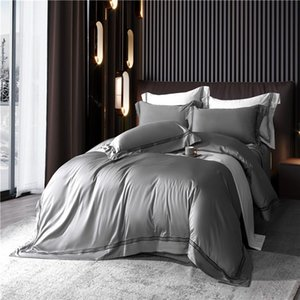 Wholesale bed line resale online - Home Hotel Duvet Cover Bed Sheet Pillowcases Cotton Sateen Embroidered Lines TC Purple Green Queen King Size Bedding Set