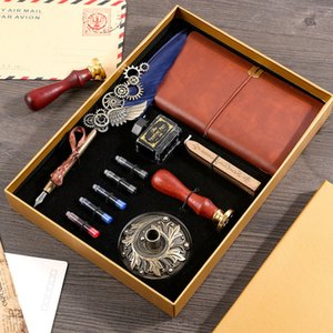 Wholesale seal set resale online - Antique Gear Metal Journal Retro Stylish Feather Steampunk Quill Ink Pen Sealing Wax Stamp Notebook Pen Steampunk Set for Gifts