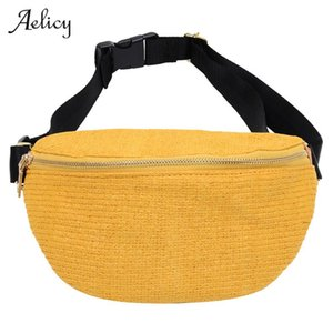 bolsas de playa de moda al por mayor-Mujeres Casual Paja Cintura Bolsa Piscina Pequeño Holiday Beach Messenger Bags Single Hombro Crossbody Bolsa Moda Cintura