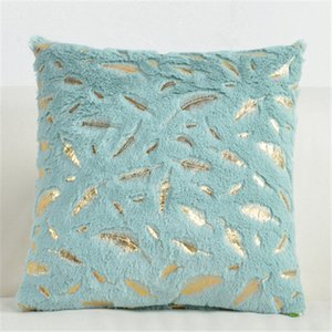 Wholesale white feather home decor resale online - Flannel Pillowcases Hot Black Cushion Covers Golden Feather Soft Cushions For Home Decor Sofa Chair Bed Solid Color DDD4288
