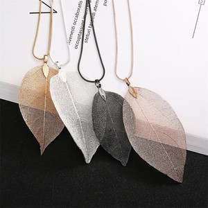 Wholesale leaf chains resale online - Best Selling Womens Fashion Long Chain Sweater Necklace Gold Silver Black Plated Natural Leaf Pendant Necklace J2