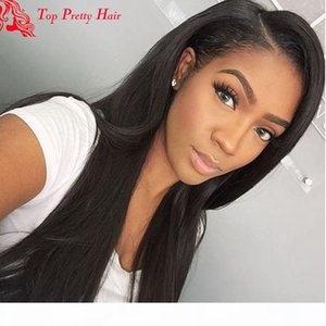 Wholesale womens wig human hair for sale - Group buy Glueless Brazilian Straight Wig Right Side Part Natural Looking Long Black Full Front Lace Human Hair Wigs For American Womens