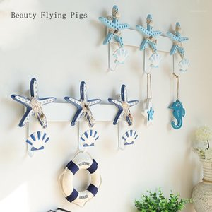 Wholesale starfish clothing resale online - Creative starfish shell hook key frame decoration wall hanging door personality wall clothing store home decoration hook1