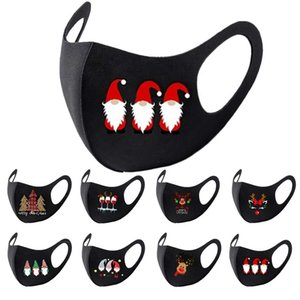 Wholesale hot santa girl for sale - Group buy face mask boys girls Christmas Santa giraffe printing mask adult dustproof fog mouth masks hot sale black facemask