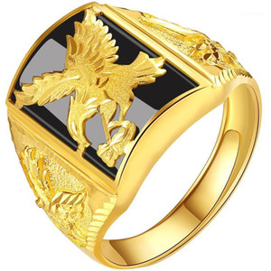 Wholesale gold eagle jewelry resale online - Punk Rock Eagle Men s Ring Black Stone Gold Color Resizable To Finger Jewelry Never Fade1