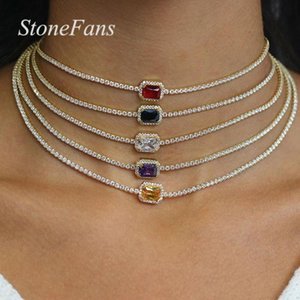 Wholesale statment necklaces resale online - Stonefans Square Multicolor Rhinestone Necklace Choker for Women Simple Star Jewelry Statment Necklace Chain Crystal Collar