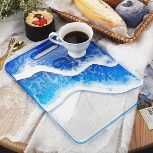 Wholesale resin tables resale online - DIY Rectangle Tray Silicone Mold Large silicone rolling tray Handle mold for resin Epoxy Resin molds trays Table Decorative