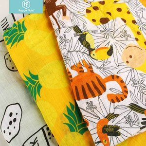 Wholesale baby cover mats resale online - Happy Flute Pc Muslin Cotton Baby Swaddles Soft Newborn Blankets Bath Gauze Infant Wrap sleepsack Stroller cover Play Mat Y201001