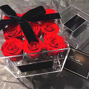 Wholesale roses boxes for sale - Group buy Rose Storage Transparent Makeup Organizer Acrylic Flower Box for Girls Gift Y1113