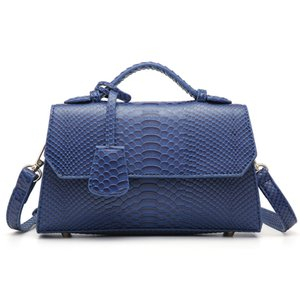Wholesale blue ostrich clutch resale online - Fashion Blue Python Clutch Ladies Snake Pattern Leather Bags Women Hand Girl Ostrich Bag for Party Q1106