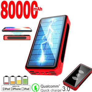 Solar Power Bank 80000mah 4usb Led Portable Wireless Charging Power Pack Can Charge the External Battery of iPhone Xiaomi Free Shipping