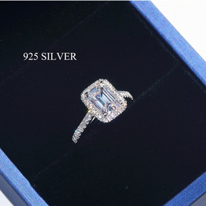 Wholesale emerald engagement rings resale online - Emerald cut ct Lab Diamond Ring sterling silver Engagement Wedding Rings for Women Fashion Lovers Rings