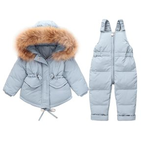 Wholesale baby soft jacket resale online - Baby Boy Girls Down Jacket Suit Toddler Hooded Coat And Overalls Set Infant Winter Warm Soft Light Clothes Cute Kids Suits Y1113