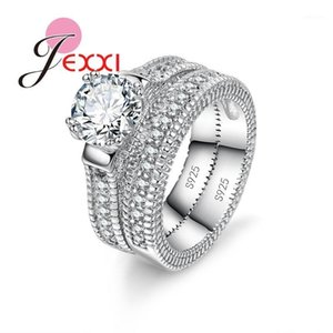 Wholesale bride ring set for sale - Group buy Elegance Sterling Silver Ring Set Paved Full High Quality Shiny Crystals Anel For Women Bride Wedding Jewelry1