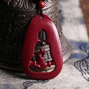 Wholesale jade buddha hand pendant resale online - NATURAL CINNABAR BUDDHA HAND PENDANT NECKLACE DROP SHIPPING LUCKY AMULET WOMEN S AND MEN S JADE JEWELRY Q1105