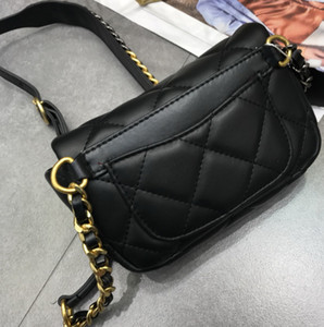 top Quality Famous designer brand new Genuine Leather lambskin pocket waist bag with chain belt bag black