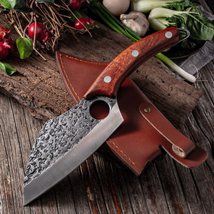 Wholesale butcher knives resale online - Stainless Steel Hammer Pattern Chef Knife Butcher Meat Boning Knives with Solid Wood Handle Kitchen Cutting Cooking Tools