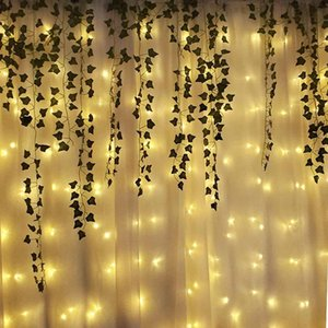 ingrosso piante artificiali illuminate-230 cm Artificiale Ivy Ghirlanda Piante finte Plants Vine Ghirlanda Appeso con M LED String Light per la casa Party Garden Wedding Wall Decor