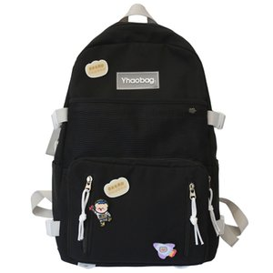 Wholesale mesh backpacks resale online - Lady Nylon Cartoon Badge Backpack Kawaii Female School Bag Mesh Girl Book Cute Backpack Women Student Net Bag Fashion Trendy New C1223
