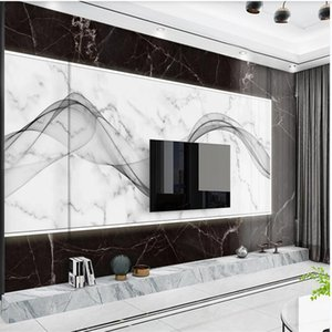 Wholesale painted lines for sale - Group buy Modern minimalist abstract black marble wallpapers abstract line TV background wall classic painting wallpaper