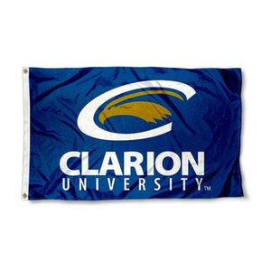 Wholesale clarion resale online - Clarion Golden Eagles Logo Flag NCAA High Quality Flag x5 FT Double Stitched Decoration Sports Banner x150cm