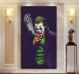 Wholesale nordic style wall resale online - 2020 The Joker Wall Art Canvas Painting Wall Prints Pictures Chaplin Joker Movie Poster for Home Decor Modern Nordic Style Painting