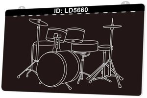 Wholesale musical percussion resale online - LD5660 Musical Instrument Drums Percussion Instrument D Engraving LED Light Sign Colors Retail Free Design