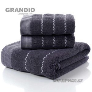 Wholesale packing for towels for sale - Group buy 3 Pack Cotton Towels Set White Coffee Dark Blue PC Bath Towel For Adults Hand Face Towels For Bathroom Beach Travel Sport