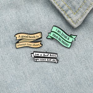 Wholesale label pins resale online - Creative Cartoon Letter label Enamel Pins Colors Character Book Money Brooches For Friends Gift Lapl Pins Shirt Clothes