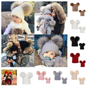 Wholesale knit headwear resale online - Mom Girl Match Crochet Beanies Hat Ribbed Knit Winter Hat with Pom Big Ball Womens Years Baby Kids Skull Caps Tuque Headwear E101904