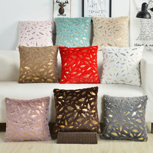 Wholesale white feather home decor for sale - Group buy Flannel Pillowcases Hot Black Cushion Covers Golden Feather Soft Cushions For Home Decor Sofa Chair Bed Solid Color EWD4288