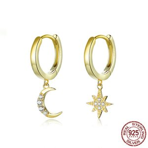 Wholesale star gold 925 resale online - Genuine Sterling Silver Moon and Star Women Dangle Earrings with Charm Clear CZ Gold Color Jewelry New Bijoux YMSCE785