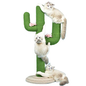 gatos de embarque venda por atacado-Cactus Cat Climbing Quadro Cat Climbing Coluna Sisal Claw Board Grande Plataforma de Madeira Sólida Pet Supplies Tree