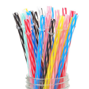 100pcs 9 Inch Reusable Plastic Drinking Straws Multi-Colors Hard Plastic Stripe PP Drink Straw with Brush