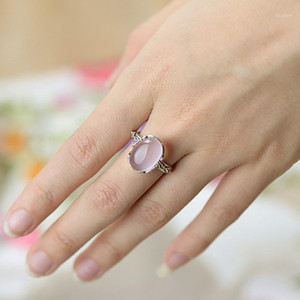 Wholesale antiques jewellery resale online - Real Pure Sterling Silver Ring Vintage Antique Womens Jewellery Rose Quartz Natural Stone Elegant Fine Jewelry Ringen1